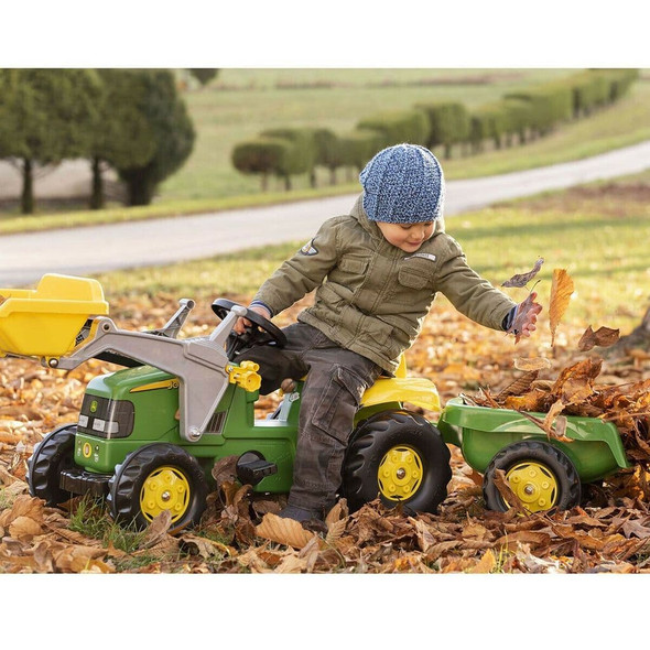 Rolly Toys John Deere Tractor Pedal Ride On With Front Loader And Trailer