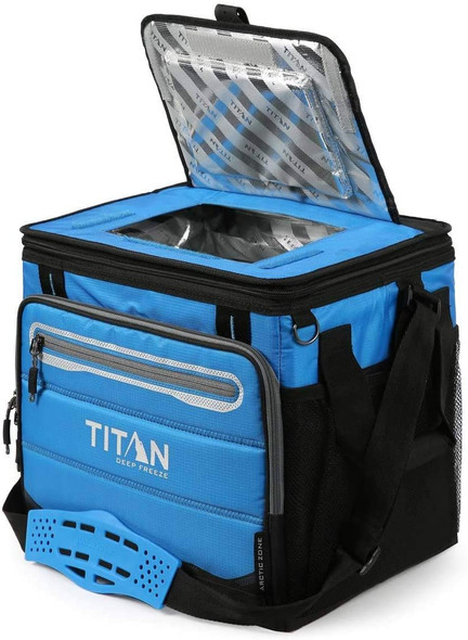 Titan Deep Freeze 40 Can Collapsible Cooler - Blue With Lid open