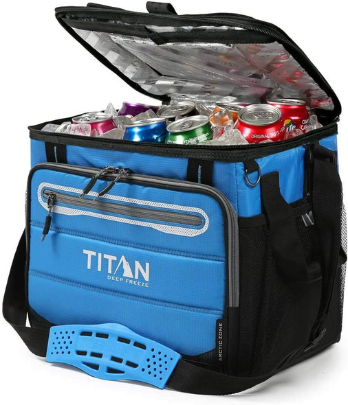 Titan Deep Freeze 40 Can Collapsible Cooler - Blue Full of Food and Drink