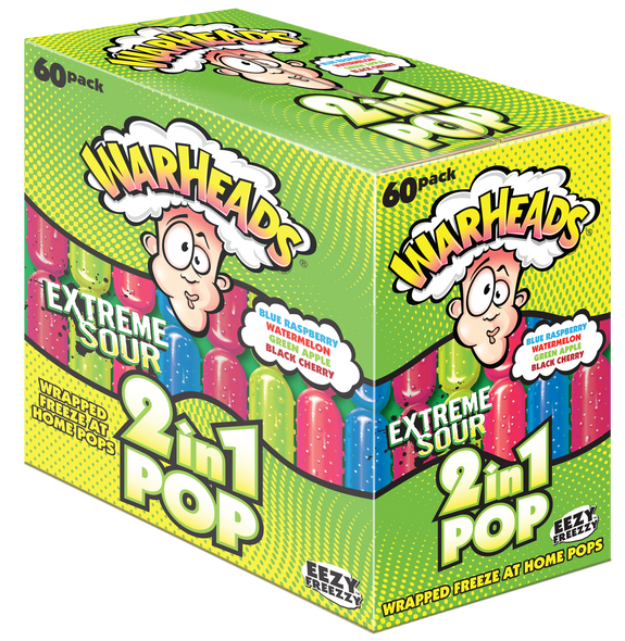 Warheads 2 in 1 Sour Ice Pops Box of 60 x 75ml