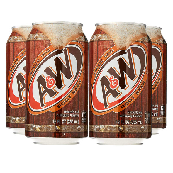 A&W Root Beer 355ml x 4 Cans (US Import)