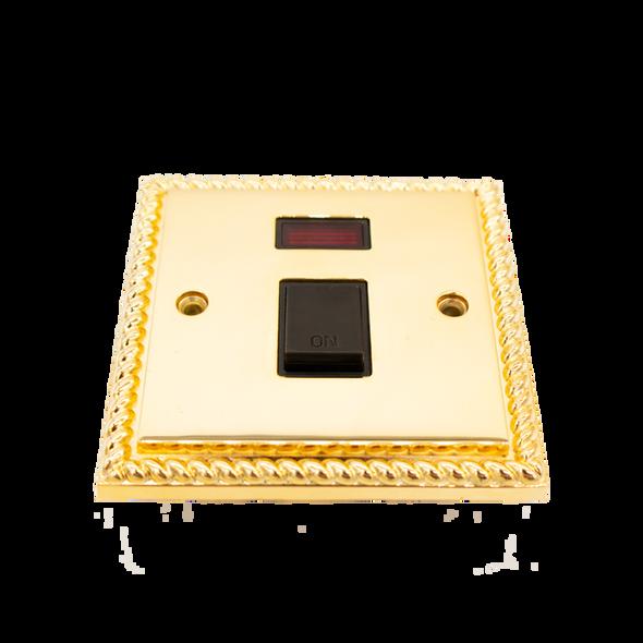 Georgian Polished Brass Rope Edge Power Switch LED