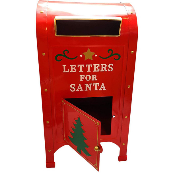 North Pole Express Official Red Letters to Santa Metal Mailbox/Post Box