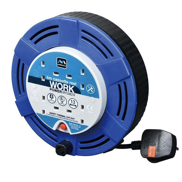 13A 8M 4 Gang Cassette Power Cable Reel in Blue Extension Lead