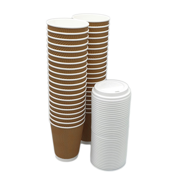 "40 Frabco ""S"" Ripple 12oz Insulated Beverage Cups and Lids"