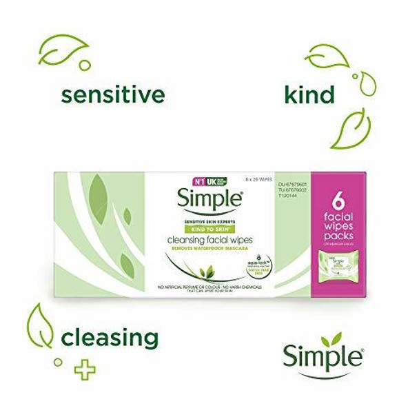 Simple Kind to Skin Cleansing Facial Wipes to Lift Impurities and Make-up Out, 25 Face Wipes (Pack of 6 x 25)