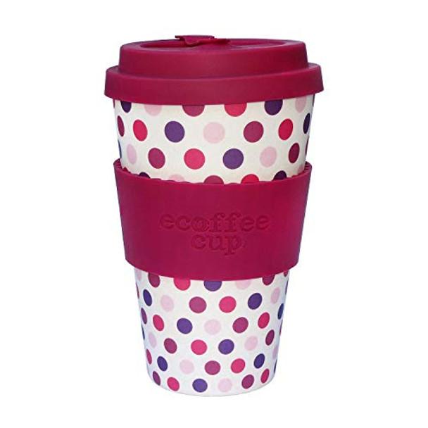 Ecoffee Bamboo cup. 14oz Pink Polka design