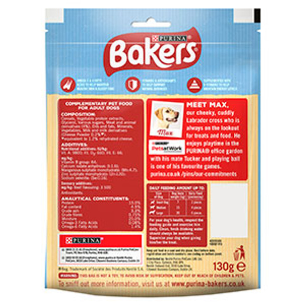 Bakers Whirlers Dog Treats Bacon and Cheese 130g - Case of 6 (780g))