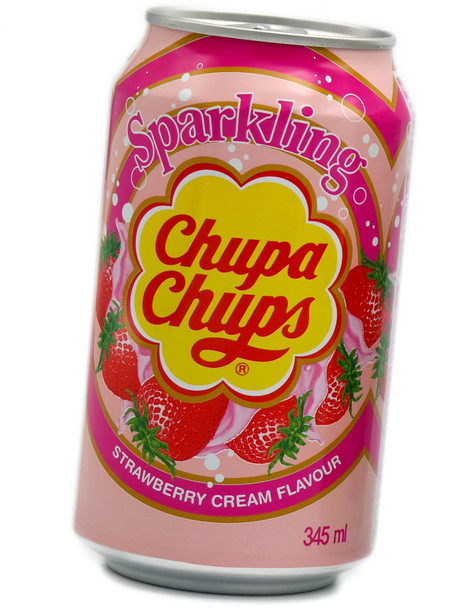 Sparkling Chupa Chups Soda 345ml Strawberry Cream Flavour