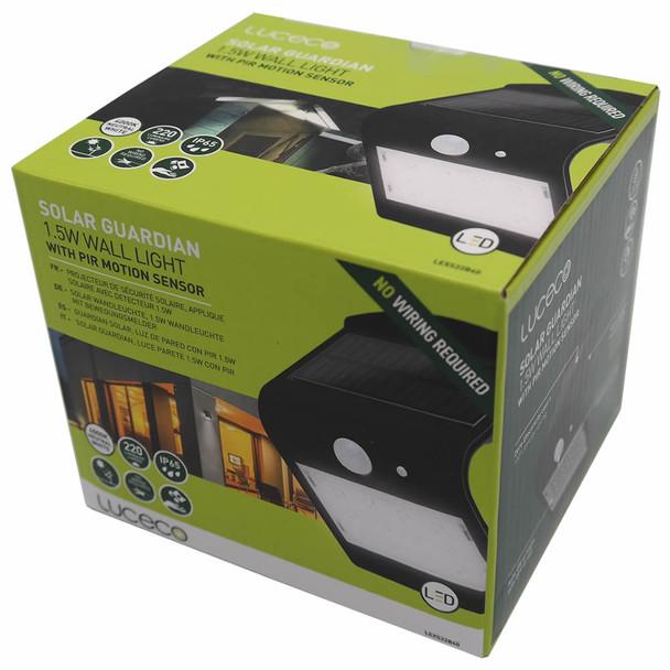 Solar Guardian Super Bright Warm White LED Wall Light (Black)
