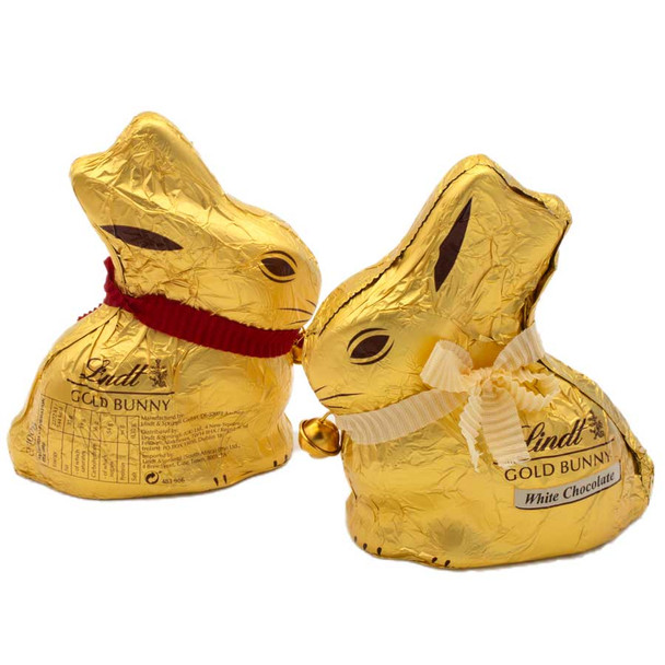 Lindt Gold Bunny Milk and White Chocolate Pair 2 x 100g