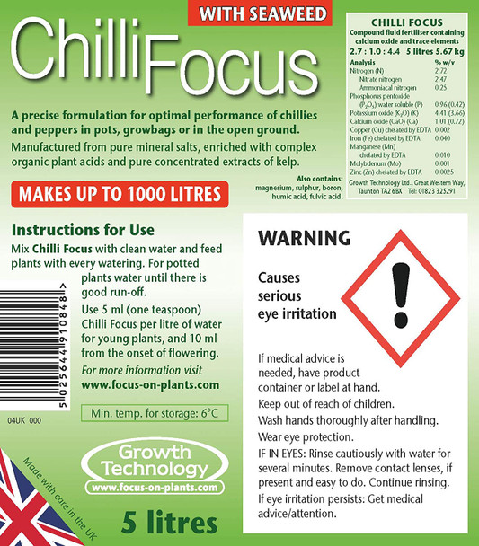 Chilli Focus Premium Liquid Concentrated Fertiliser 5 Litre Label View