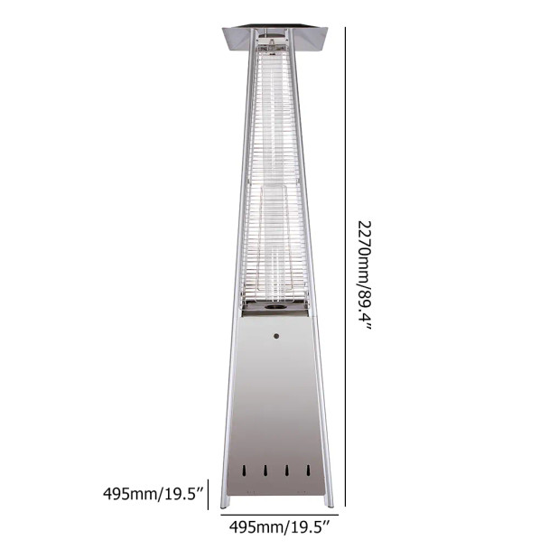 38,000 BTU Outdoor Propane Heater, Stainless Steel Commercial Patio Heater