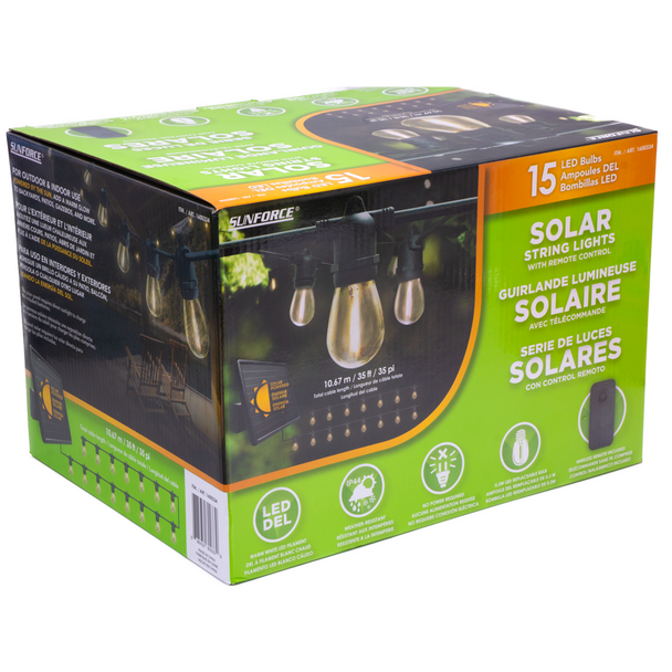 15 LED Bulbs Solar String Lights with Remote Control