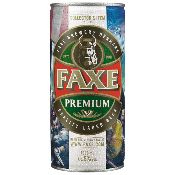 Faxe Premium Collectors 1000ml Mega Can Lager (Denmark)