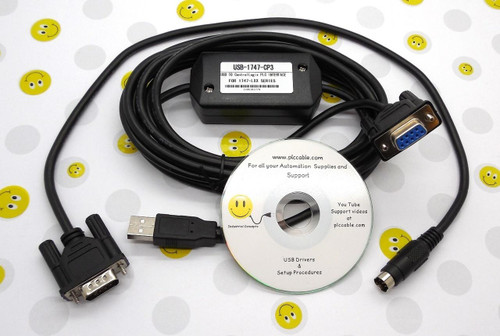 PLC Cables, Inc Allen Bradley USB 1747-CP3 1756-CP3 and 1761-CBL-PM02 MicroLogix and SLC