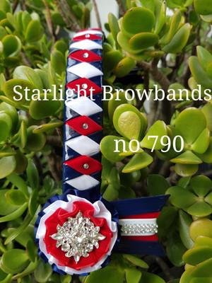 790 diamond Navy patent red white velvet 14&1/2