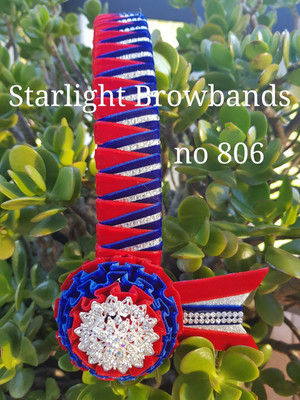 806 Starlight Browband 1.25 inch wide red royal blue 16 & 1/2 inch easy change