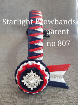 807 Starlight Browbands patent red navy white diamante in lay 15&1/2 inch easy change