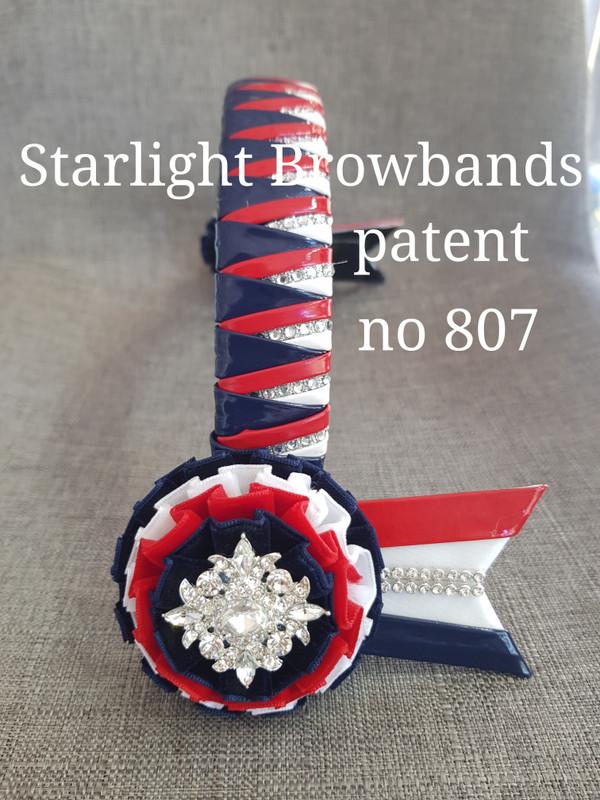 807 patent navy red white diamante inlay 14 inch