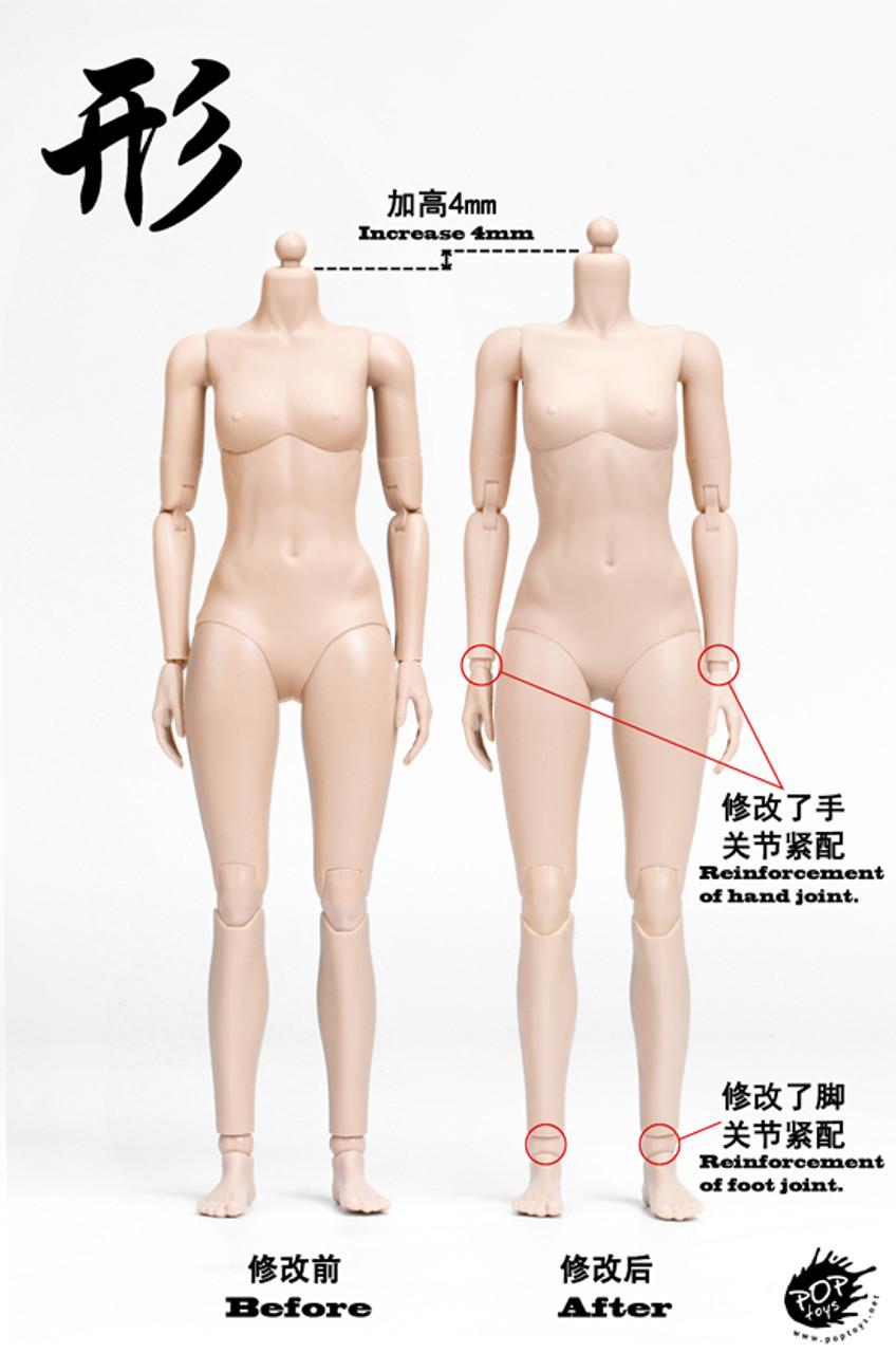 POPTOYS 1//6 Super Flexible Steel Skeleton Female PALE Body SEAMLESS Arms Legs
