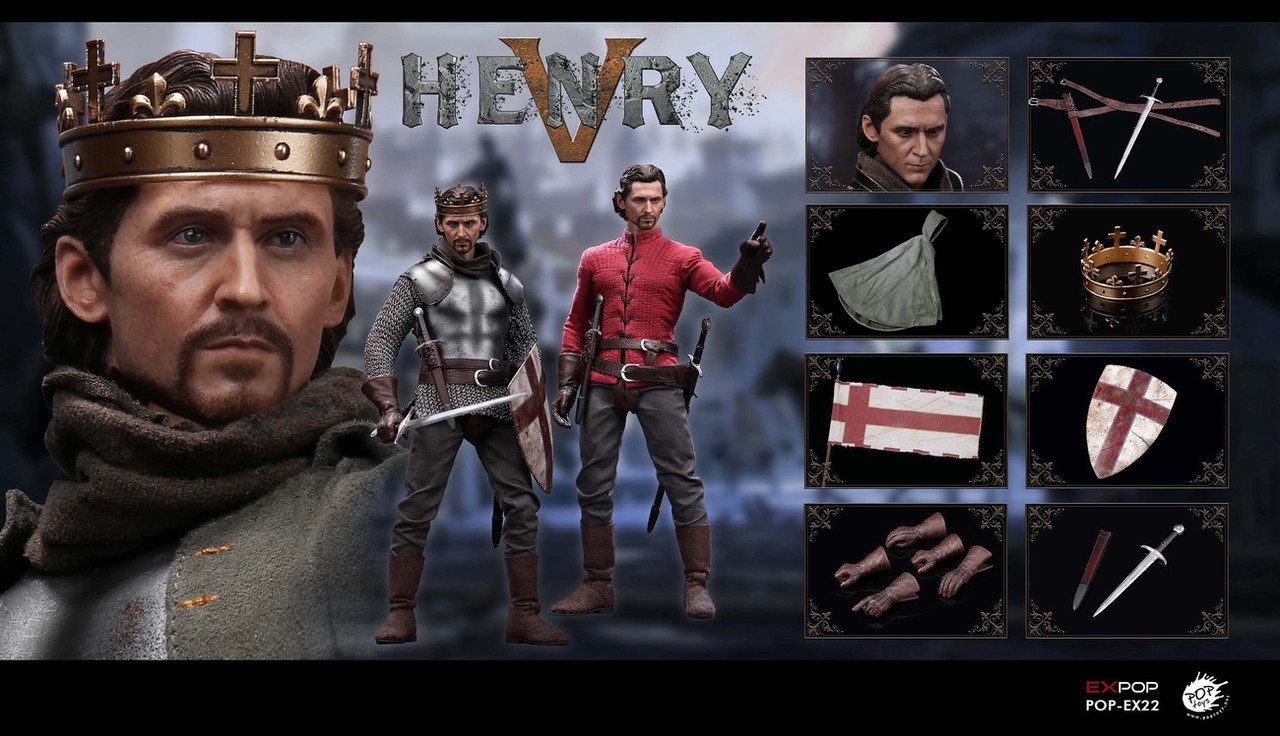 POP Toys Action Figures Head w// Beard #1-1//6 Scale King Henry V