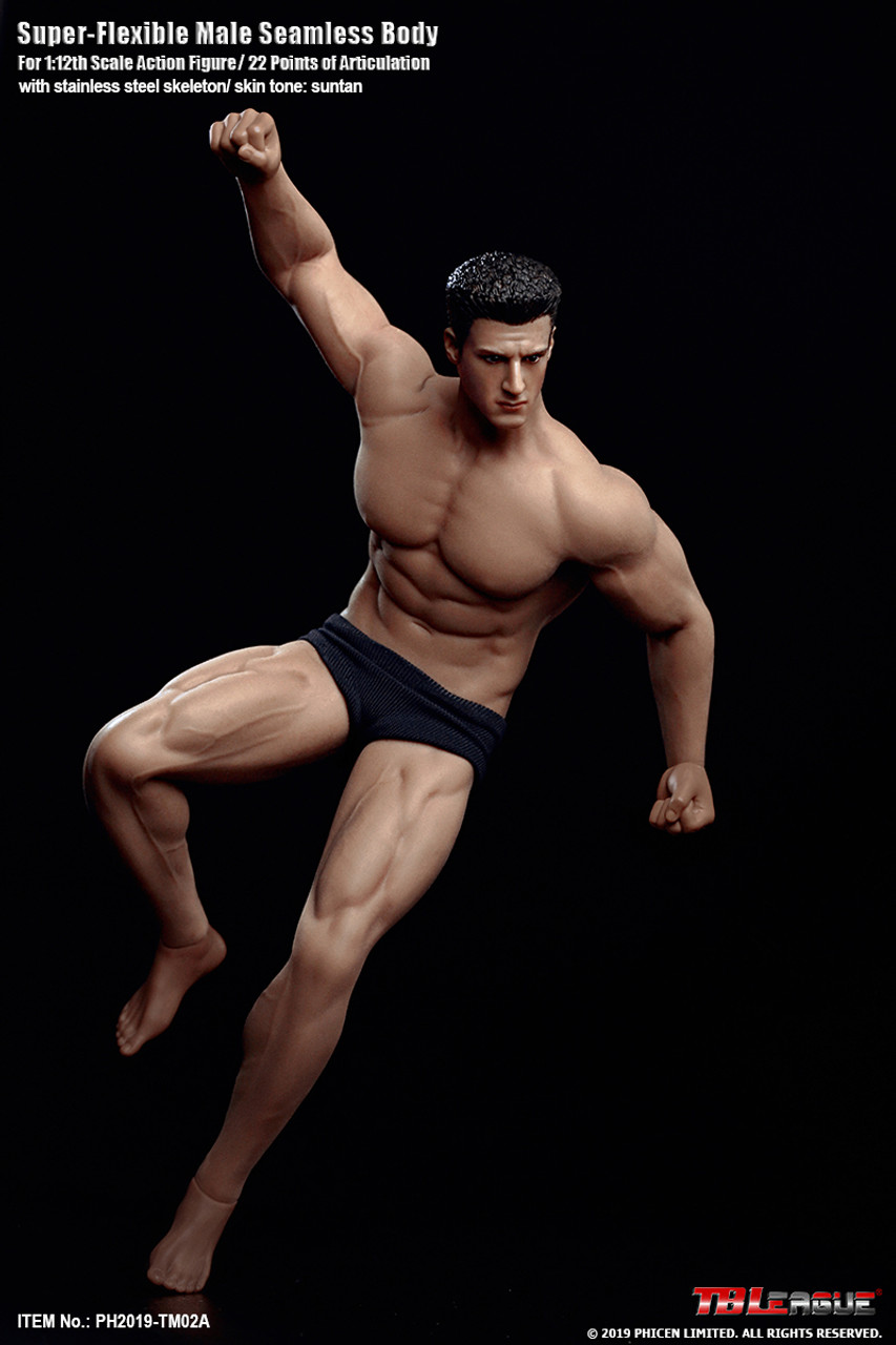 1:6 Scale Seamless Muscular Male Body Flexible Stainless Body Normal Skin