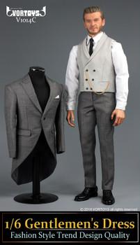 VORTOYS V1014C Gentlemen's Dress Fashion 1/6 light Grey suit set (in stock)
