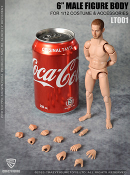 Crazy Figure LT001 1/12 scale Male Body with Neck (in stock)