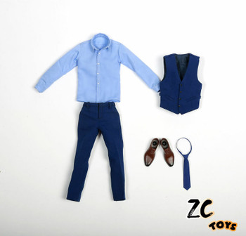 ZC TOYS 1/6 Scale Gentleman Suit Clothes Blue Costume Set (in stock)