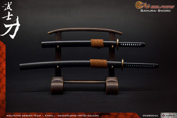 Wolfking WK88004A 1/6 SAMURAI Katana sword with display set (Black) (in stock)