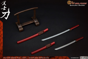 Wolfking WK88004B 1/6 SAMURAI Katana sword with display set (Red) (in stock)