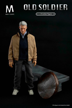 Mini figure 1/6 Scale old soldier figure with bench (In Stock)
