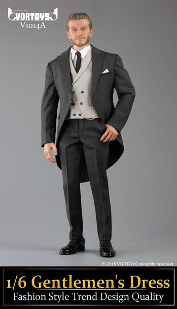 VORTOYS V1014A Gentlemen's Dress Fashion 1/6 Dark Grey suit set (in stock)