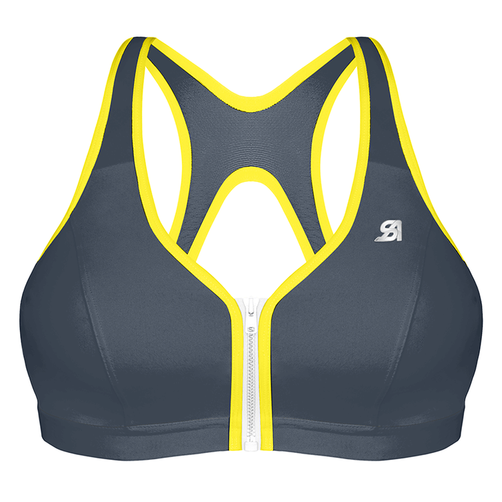 Zipped Plunge - Dark Grey Yellow