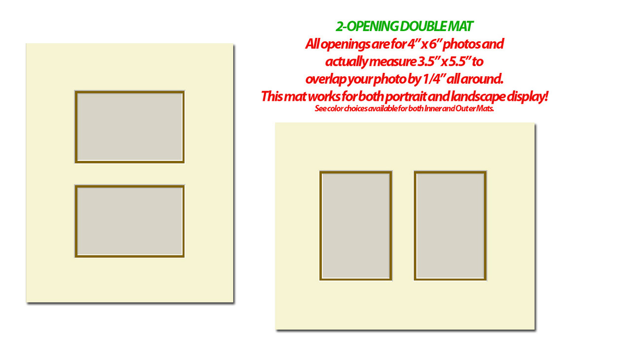 11 x 14 Double Photo Mat with 2 openings (4x6) (Pack of 10)(Multi-Opening - 1114_246d)