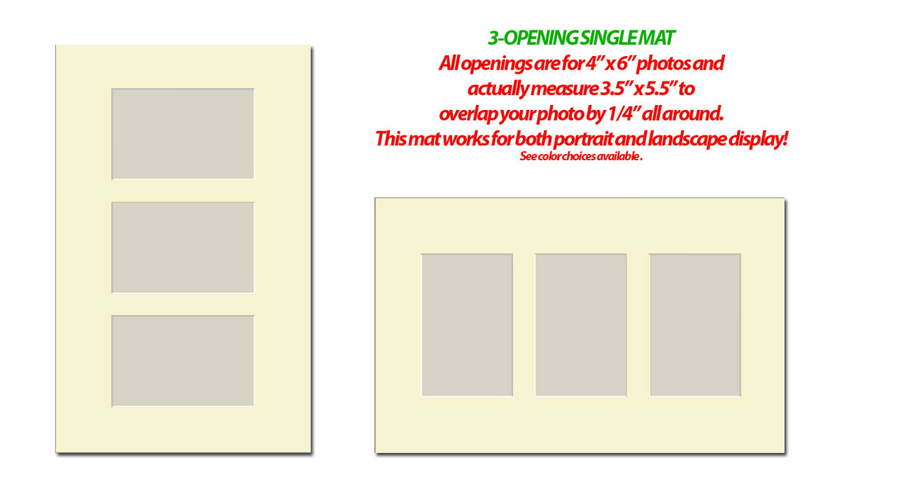 10 x 16 Photo Mat with 3 openings (4x6) (Pack of 10)(Multi-opening - 1016_346)