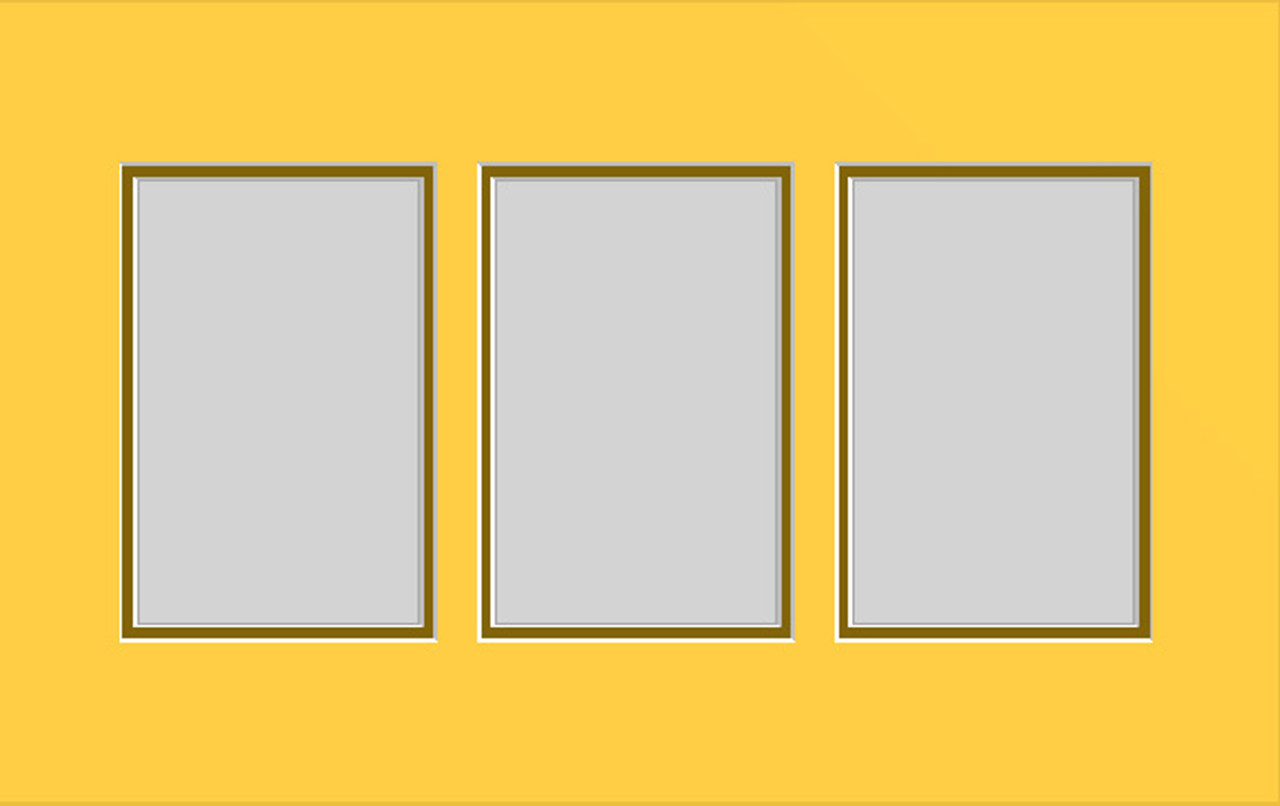 10 x 16 Double Photo Mat with 3 openings (4x6) (Pack of 10)(Multi-opening - 1016_346d)