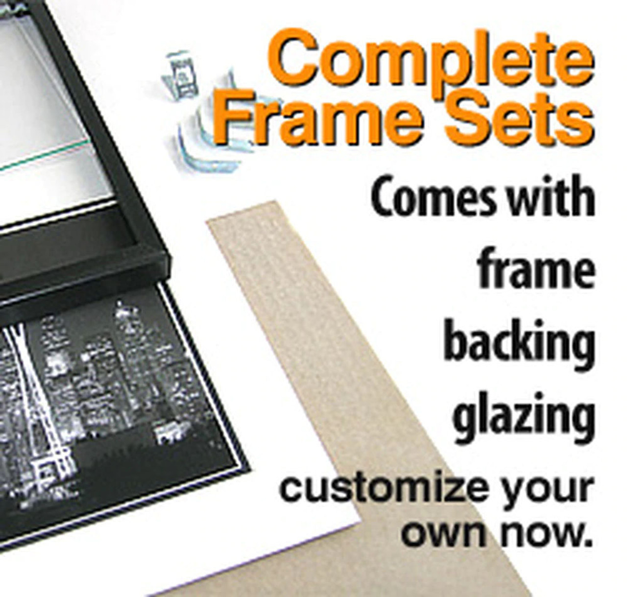 16 x 20 Backload Metal Frame Set (Complete with Standard Clear Glass and Cardboard Backing)