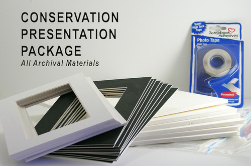 """12x16 Double 25 Pack (For Digital Sizes) (Conservation) - includes mats, 1/8"""" Acid-Free Foamcore backing, sleeves and tape!"""