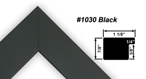 """1 1/8"""" Black Synthetic Wood Frame (#1030)"""