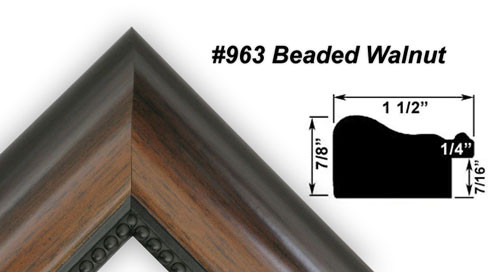 "1 1/2"" Beaded Walnut Synthetic Wood Frame (#963)"
