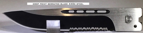 Large Hellion Drop Point Serrated Edge Replacement Blade