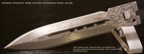Large Hellion Folded Damascus Dagger Straight Edge Replacement Blade