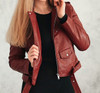 Leather Long Sleeve Biker Jacket with Zipper Design