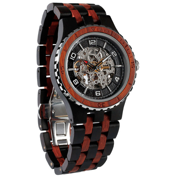 Premium Self-Winding Transparent Body Ebony Rosewood Watch