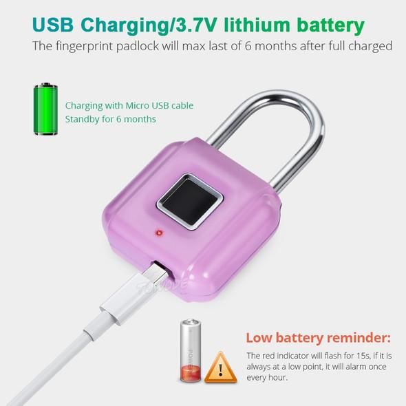 Mini keyless USB Charging Fingerprint Smart Padlock -Biometric Lock