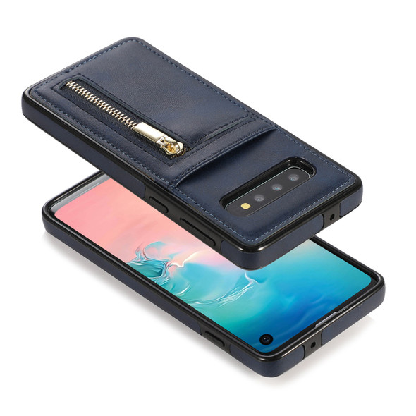 Leather Wallet Phone Case with Credit Card Holder and Slot Zipper - Samsung Galaxy S10 and S10Plus