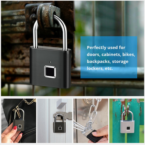 Smart Portable Anti-Theft Fingerprint Electrical Padlock for Lockers, Safes, Bag, Drawers, and Suitcase