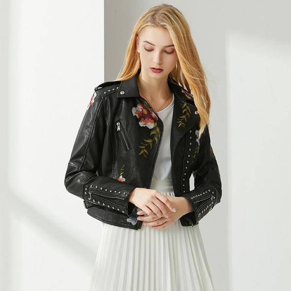 Floral Print Embroidery Biker Style Leather Jacket